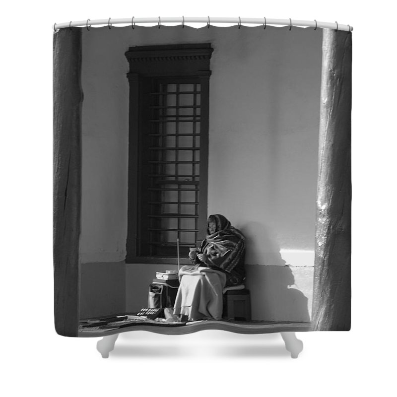 Southwestern Shower Curtain featuring the photograph Cold Native American Woman by Rob Hans