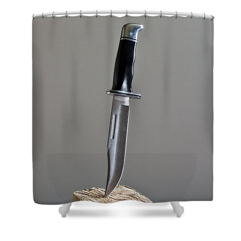 Cold; Steel; Stainless; Knife; Hunting; Hunt; Buck; Camping; Camp; Belt; Sheath; Sharp; Cut; Cutting Shower Curtain featuring the photograph Cold Steel by Allan Hughes