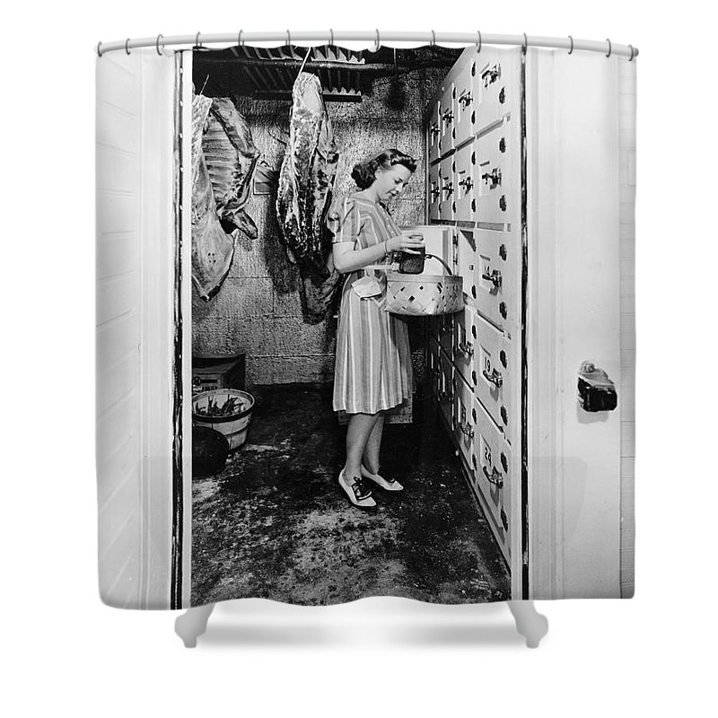 1940 Shower Curtain featuring the photograph Cold Storage Room, C1940 by Granger