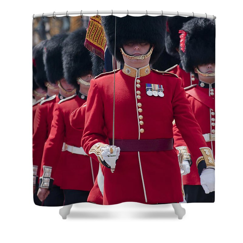 British Shower Curtain featuring the photograph Coldstream Guards by Andrew Michael