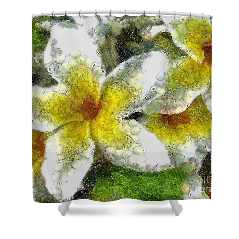Lily Shower Curtain featuring the digital art Collage by Drazen Kirchmayer