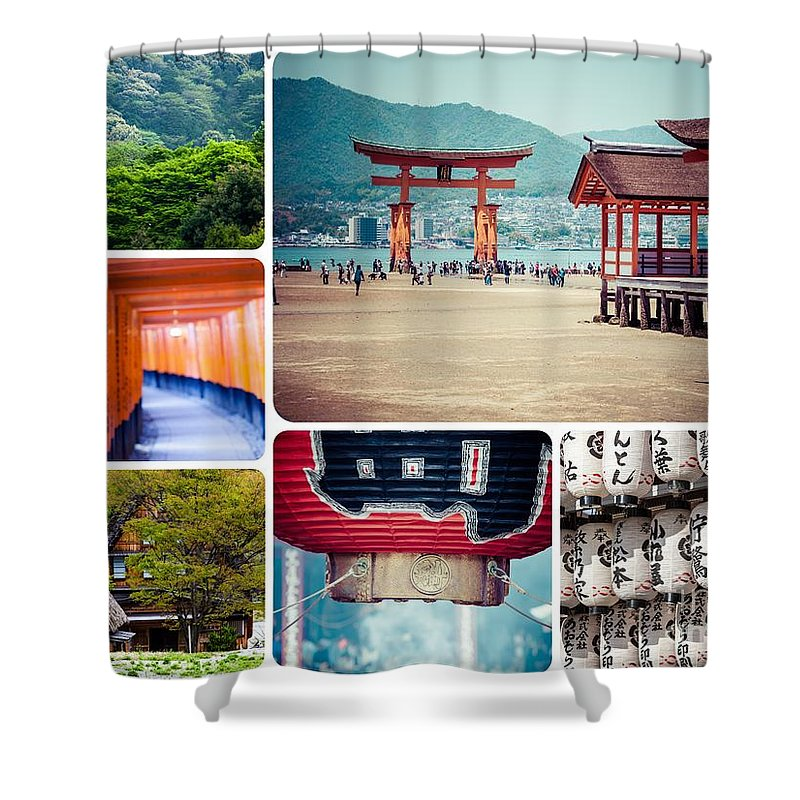 Japan Shower Curtain featuring the photograph Collage Of Japan Images by Mariusz Prusaczyk