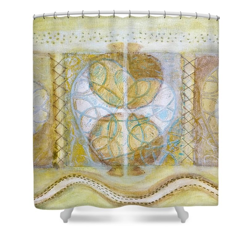 Symbolism Shower Curtain featuring the painting Collective Unconscious Three Equals One Equals Enlightenment by Kerryn Madsen- Pietsch