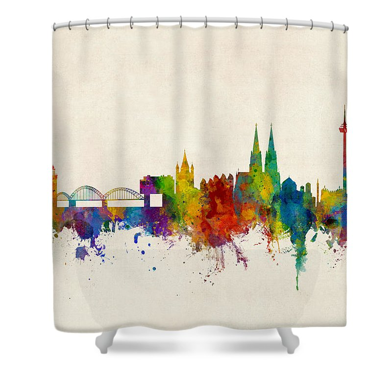 Cologne Shower Curtain featuring the digital art Cologne Germany Skyline by Michael Tompsett