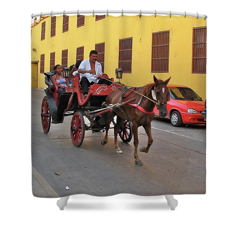 Columbia Shower Curtain featuring the photograph Colombia Carriage by Brett Winn