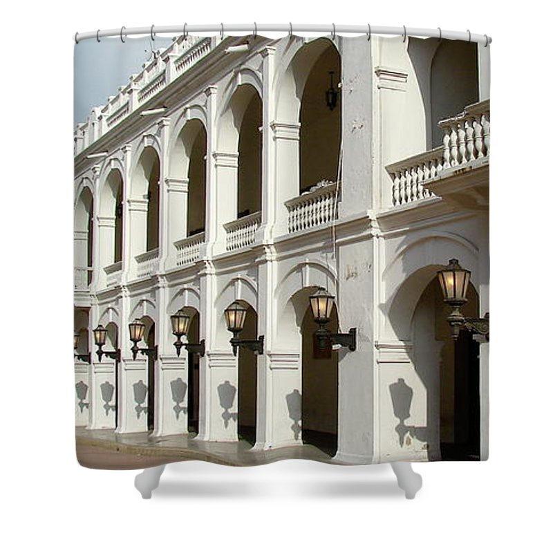 Colombia Shower Curtain featuring the photograph Colombia Courtyard by Brett Winn