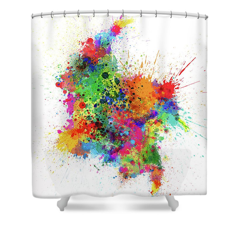 Colombia Map Shower Curtain Featuring The Digital Art Paint Splashes By Michael Tompsett