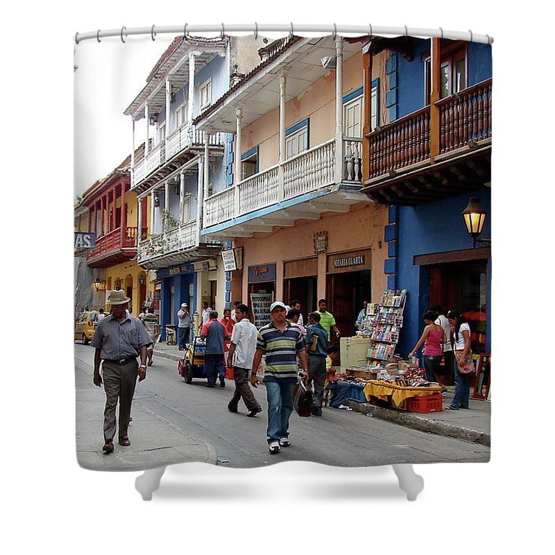 Colombia Shower Curtain featuring the photograph Colombia Streets by Brett Winn