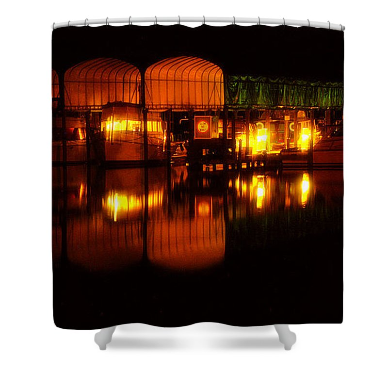 Clay Shower Curtain featuring the photograph Colonial Beach Docks After Dark by Clayton Bruster