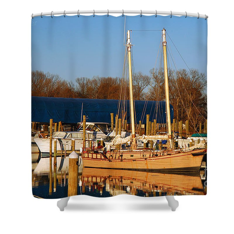 Clay Shower Curtain featuring the photograph Colonial Beach Docks by Clayton Bruster