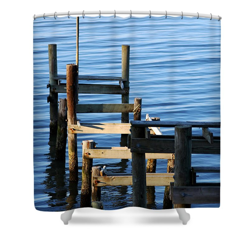 Clay Shower Curtain featuring the photograph Colonial Beach Pilings by Clayton Bruster