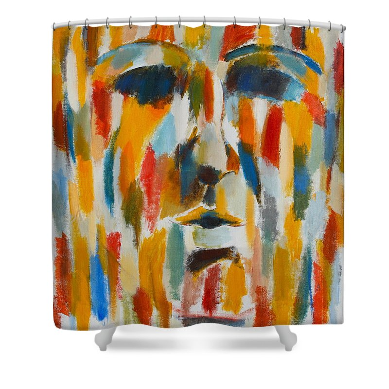 Yellow Shower Curtain featuring the painting Color Blind by Habib Ayat