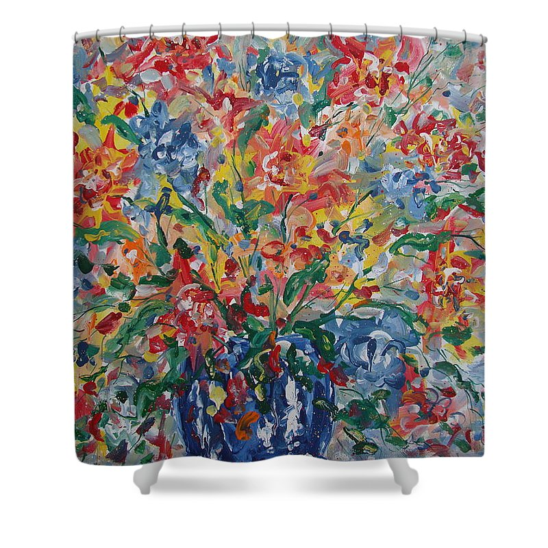 Painting Shower Curtain featuring the painting Color Expressions. by Leonard Holland