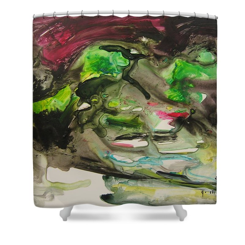 Abstract Paintings Shower Curtain featuring the painting Color Fever 114 by Seon-Jeong Kim