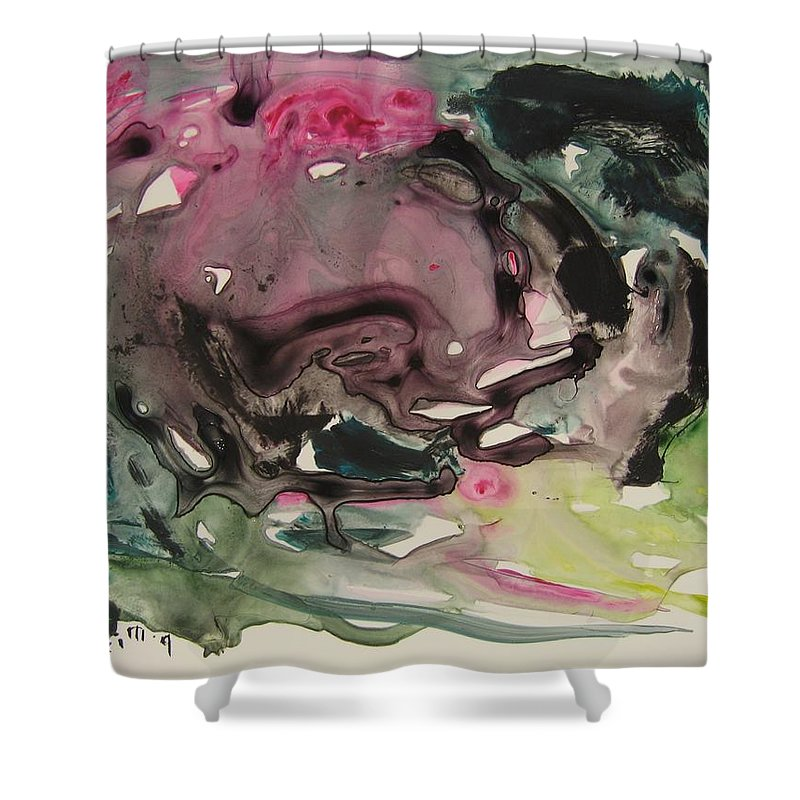 Abstract Paintings Shower Curtain featuring the painting Color Fever 115 by Seon-Jeong Kim