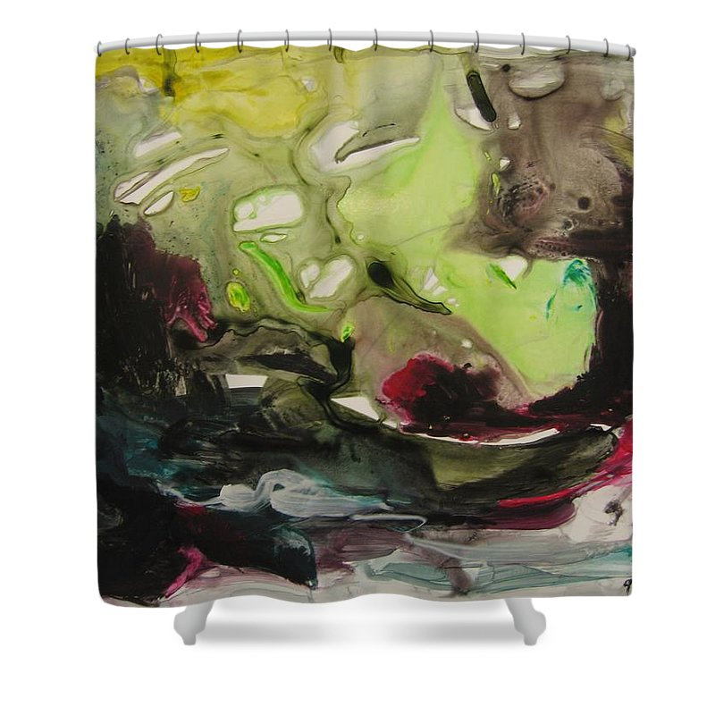 Abstract Paintings Shower Curtain featuring the painting Color Fever 116 by Seon-Jeong Kim
