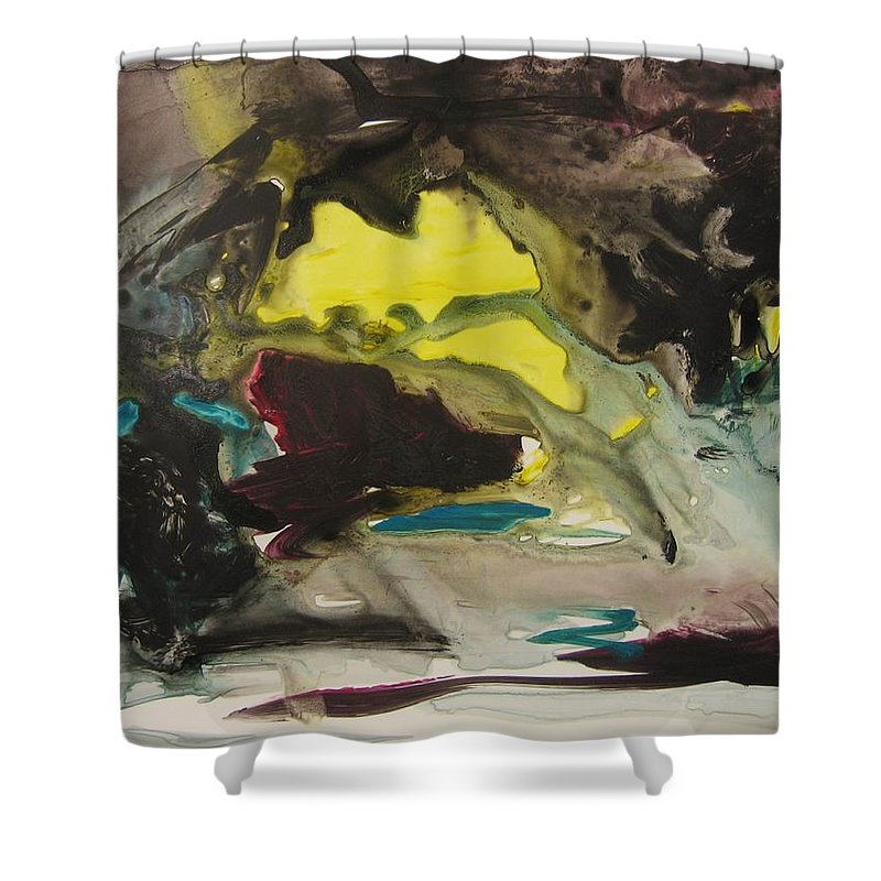 Abstract Paintings Shower Curtain featuring the painting Color Fever 117 by Seon-Jeong Kim