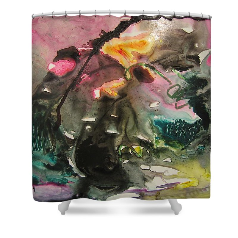 Abstract Paintings Shower Curtain featuring the painting Color Fever 125 by Seon-Jeong Kim