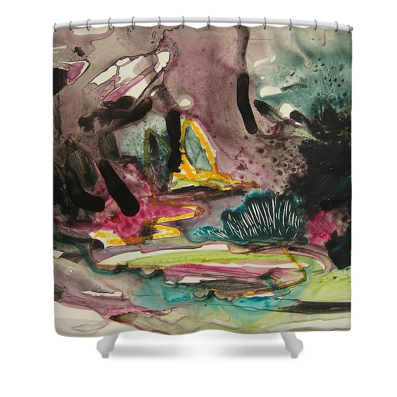 Abstract Shower Curtain featuring the painting Color Fever 136 by Seon-Jeong Kim