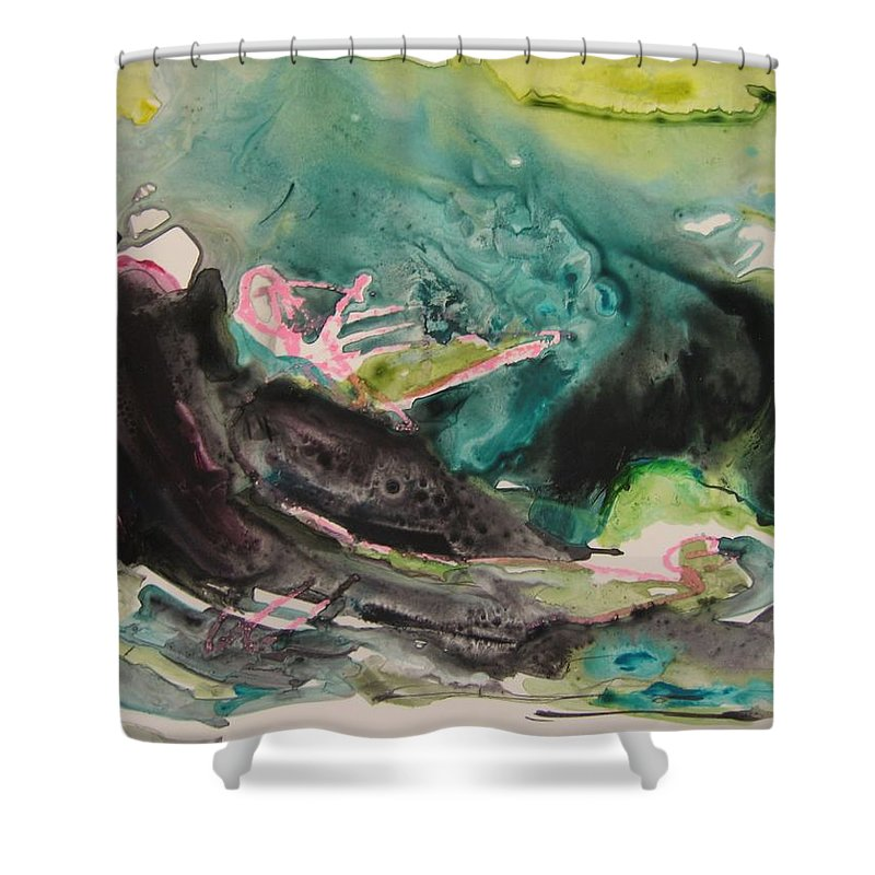 Abstract Paintings Shower Curtain featuring the painting Color Fever Series009 by Seon-Jeong Kim