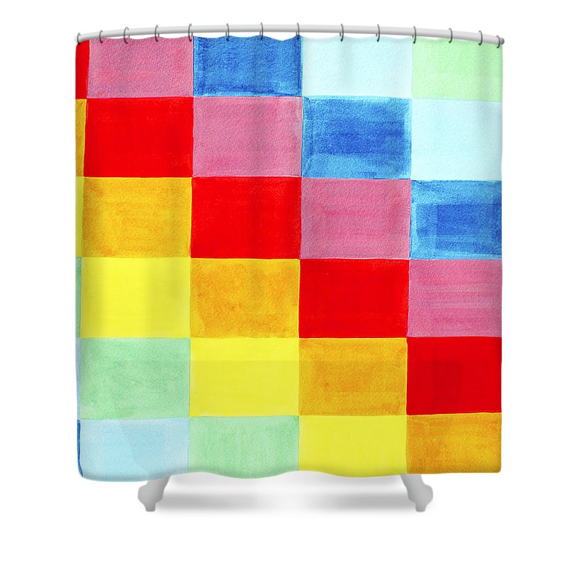 Abstract Shower Curtain featuring the painting Color Flag by Lee Serenethos