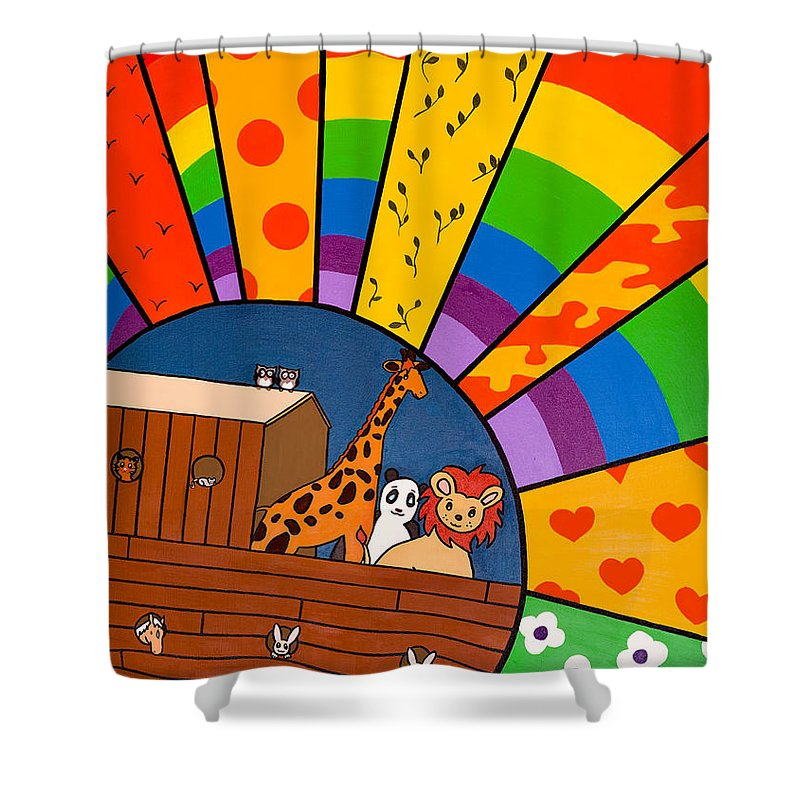 Noah's Ark Shower Curtain featuring the painting Color Flood by GG High