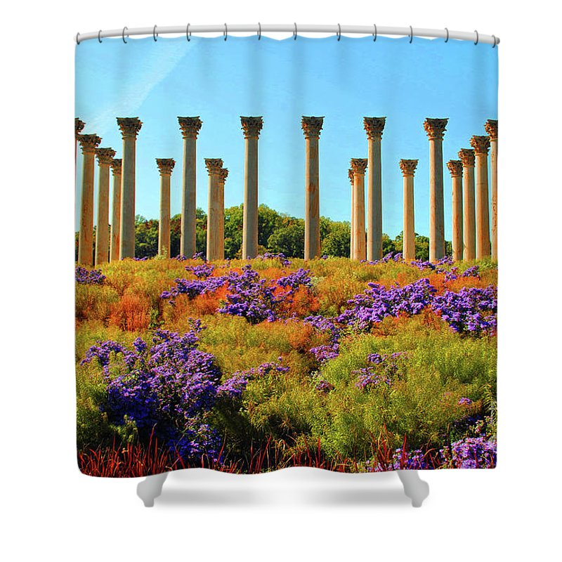 Column Shower Curtain featuring the photograph Color Grass Of The Columns by Jost Houk