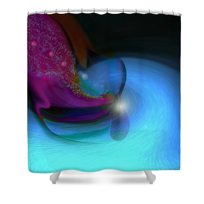 Abstract Art Shower Curtain featuring the digital art Color Movements by Linda Sannuti