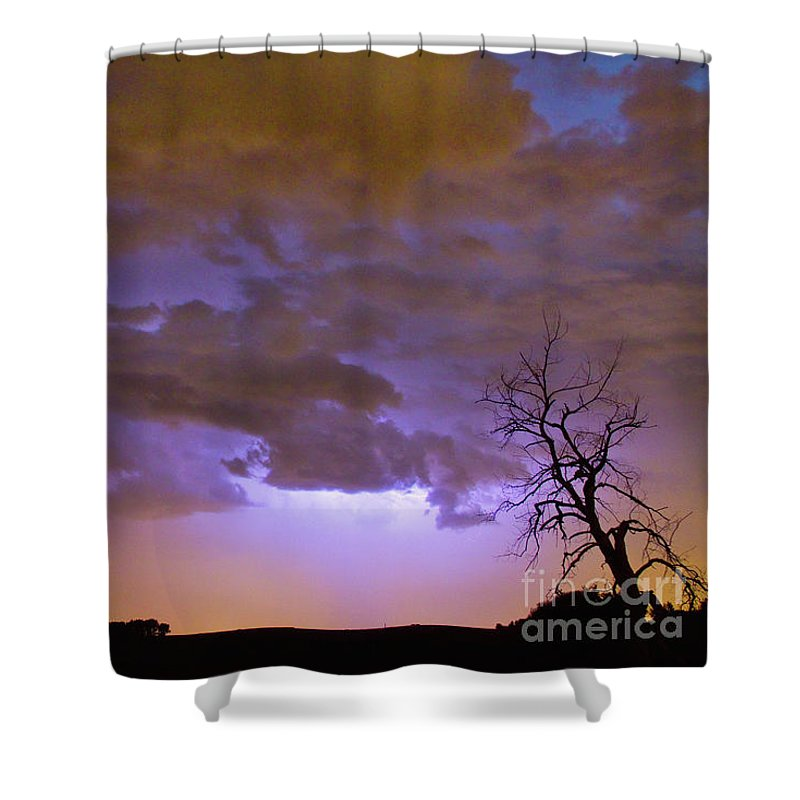 Tree Shower Curtain featuring the photograph Colorado Cloud To Cloud Lightning Thunderstorm 27g by James BO Insogna