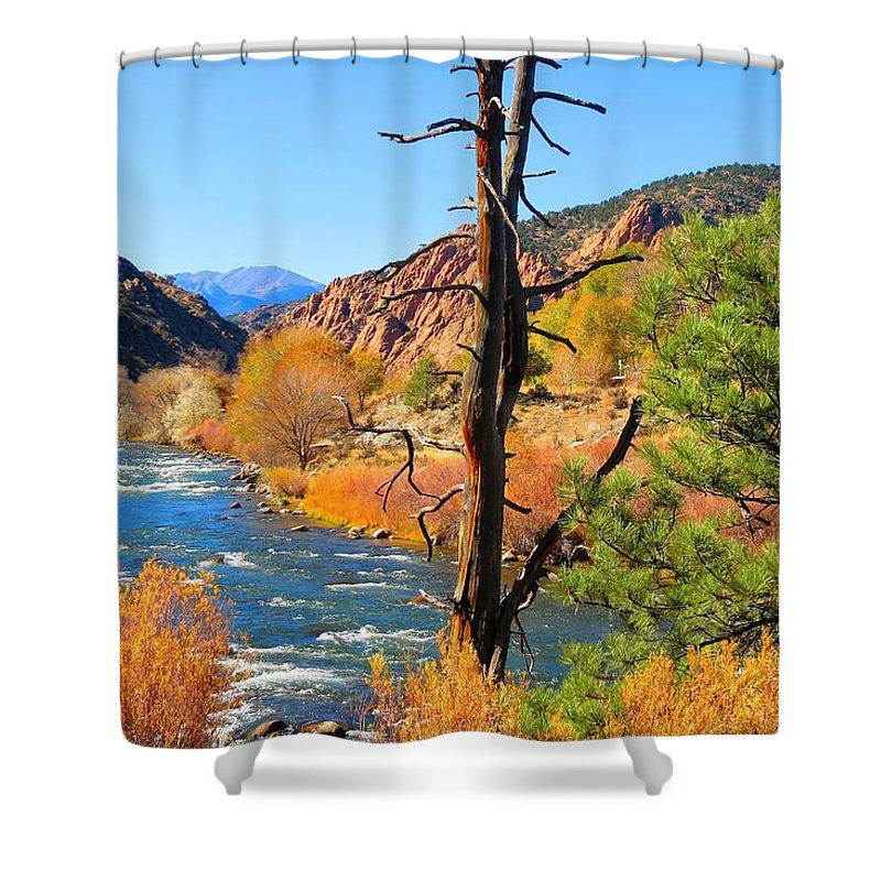 Landscape Shower Curtain featuring the photograph Colorado Fall by Connor Ehlers