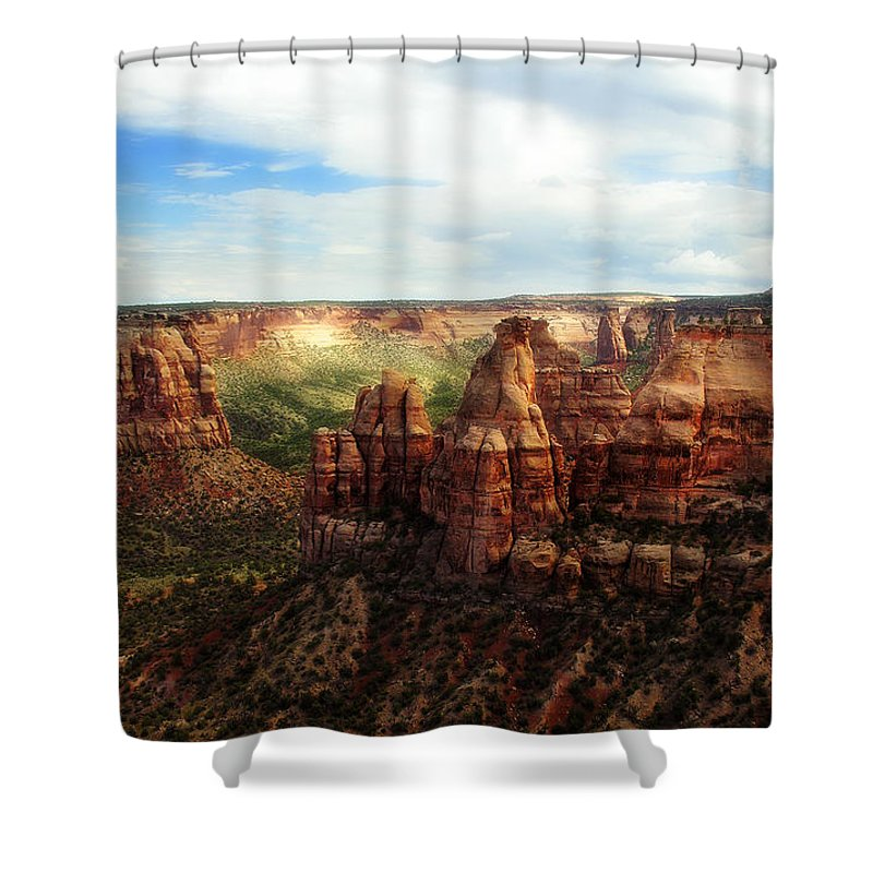 Americana Shower Curtain featuring the photograph Colorado National Monument by Marilyn Hunt