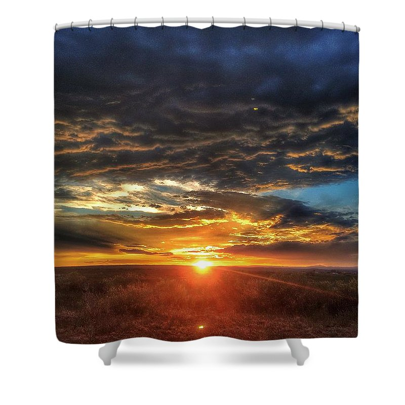 Sun Shower Curtain featuring the photograph Colorado Plains Sunset by Kris McGehee