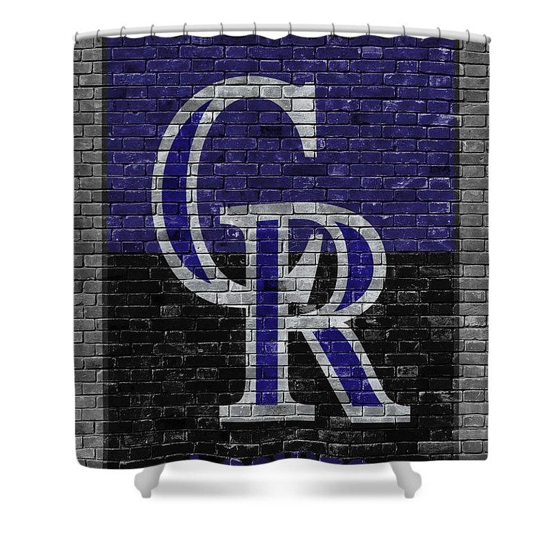 Rockies Shower Curtain Featuring The Painting Colorado Brick Wall By Joe Hamilton