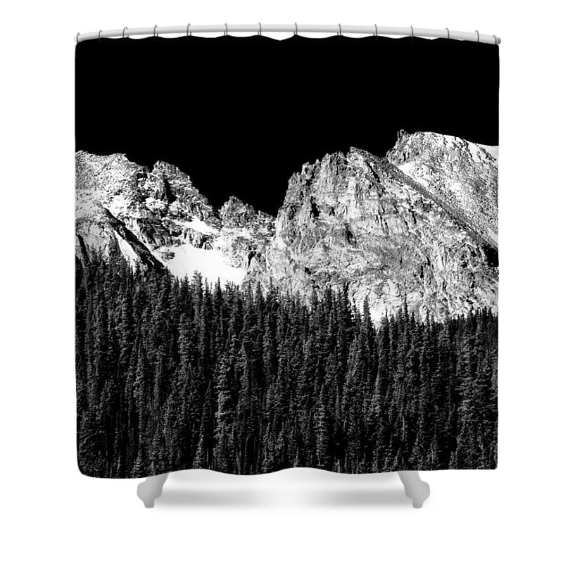 Indian Peaks Shower Curtain featuring the photograph Colorado Rocky Mountains Indian Peaks Fine Art Bw Print by James BO Insogna