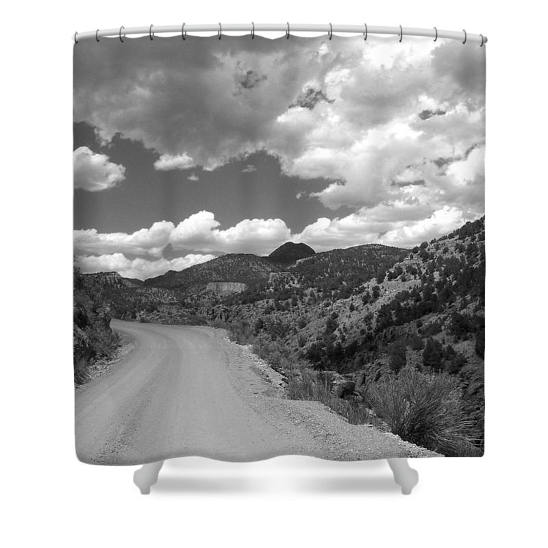 Colorado Shower Curtain featuring the photograph Colorado Shelf Road 1 B-w by Anita Burgermeister
