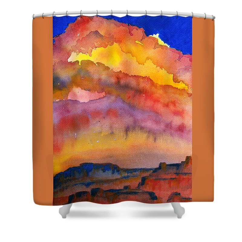 Sunset Shower Curtain featuring the painting Colorado Sunset by Anne Marie Brown