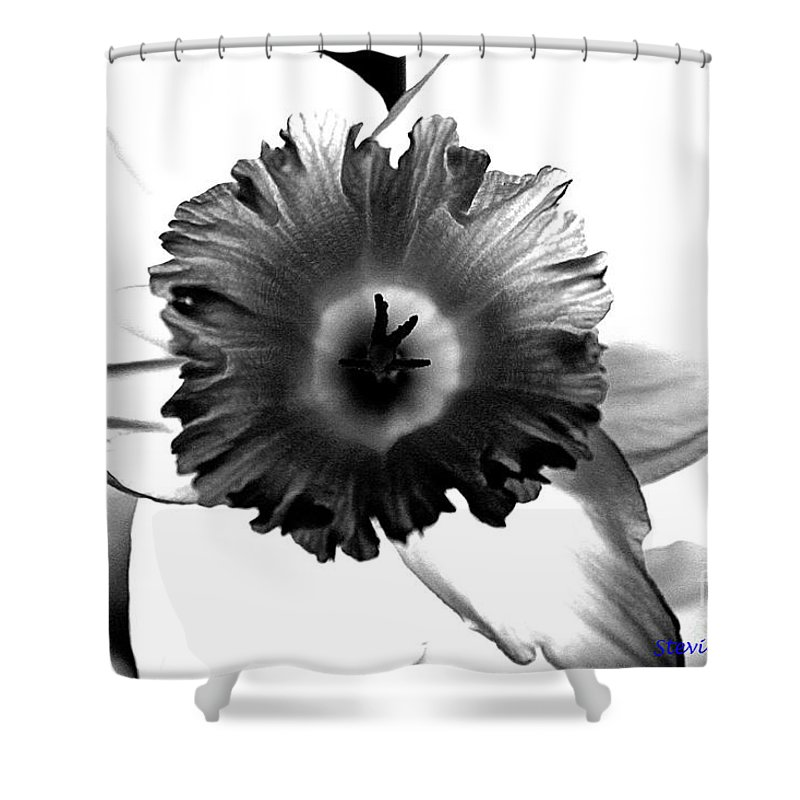 Bw black & White Modern Edge Daffodil Nature Bloom Flower Photograph Shower Curtain featuring the photograph ColorBlind. by Stevie Ellis