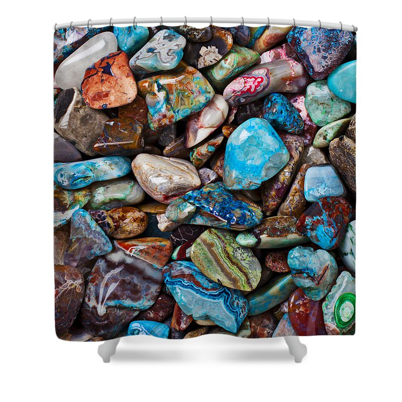 Stone Shower Curtain featuring the photograph Colored Polished Stones by Garry Gay