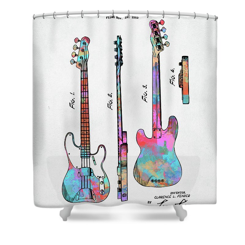Fender Guitar Shower Curtain Featuring The Digital Art Colorful 1953 Bass Patent Artwork By