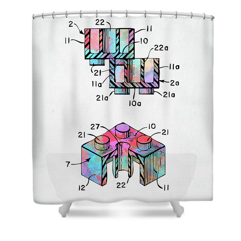 Toy Shower Curtain Featuring The Digital Art Colorful 1961 Lego Brick Patent Minimal By Nikki Marie