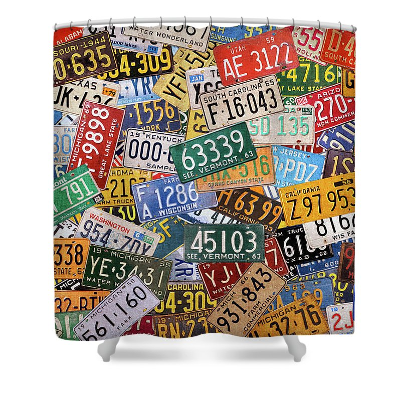 Colorful Shower Curtain Featuring The Mixed Media Assorted Vintage License Plates From All 50 States