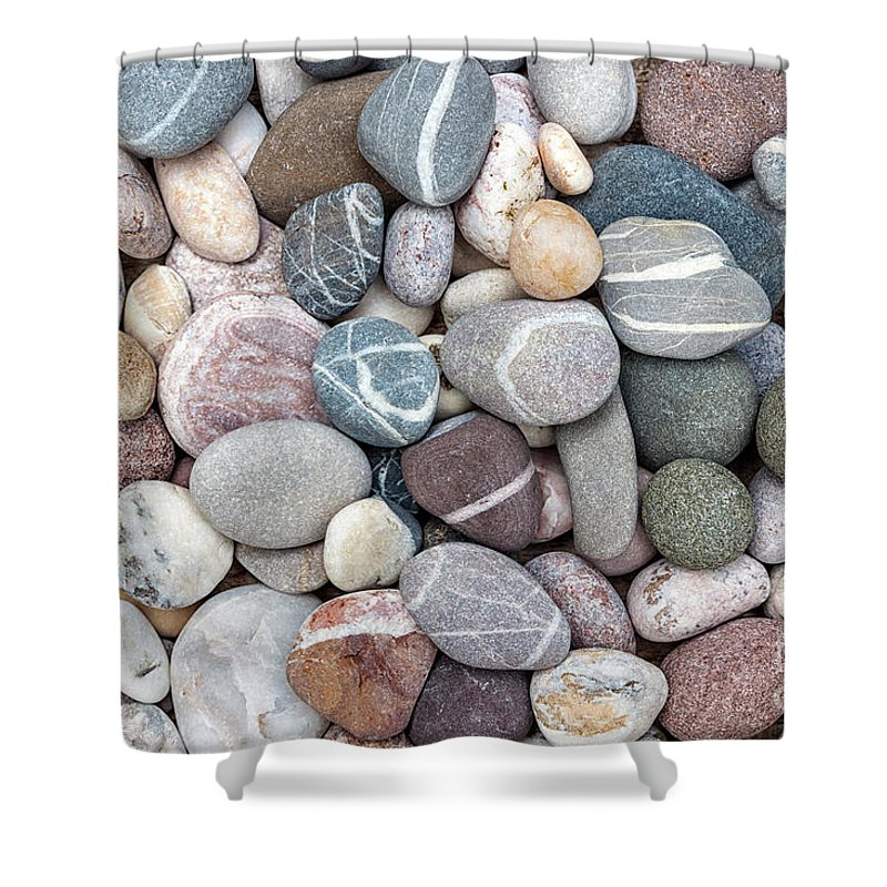 Pebbles Shower Curtain Featuring The Photograph Colorful Beach By Elena Elisseeva