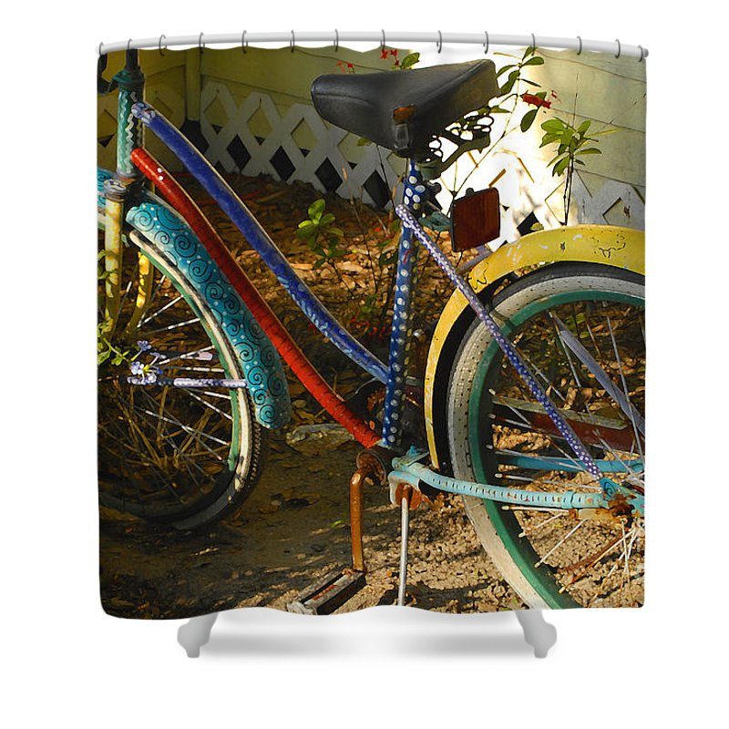 Bicycle Shower Curtain featuring the photograph Colorful Bike by David Lee Thompson