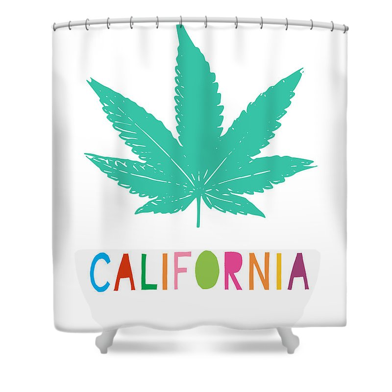 California Shower Curtain Featuring The Mixed Media Colorful Cannabis Art By Linda Woods