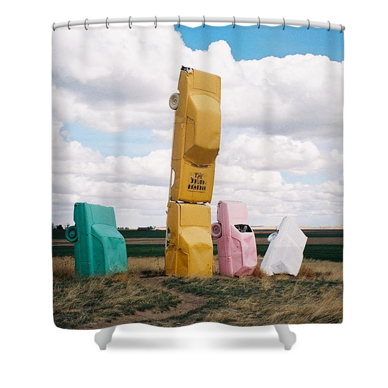 Cars Shower Curtain featuring the photograph Colorful Cars by Denise Keegan Frawley
