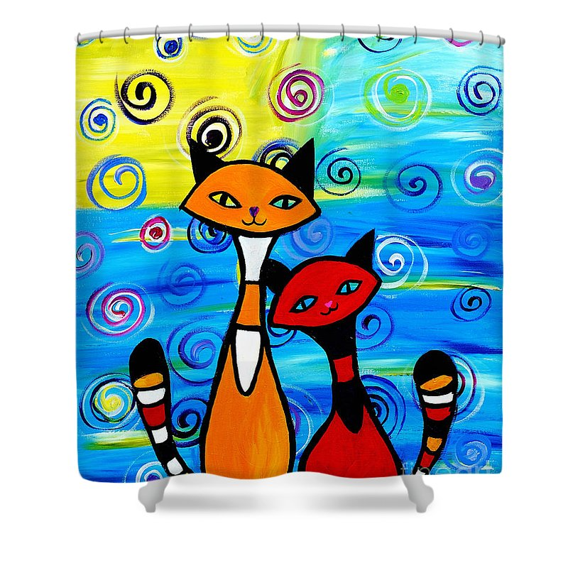 Cats Shower Curtain featuring the painting Colorful Cats by Art by Danielle