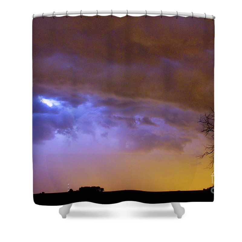 Weld County Shower Curtain featuring the photograph Colorful Cloud To Cloud Lightning Stormy Sky by James BO Insogna