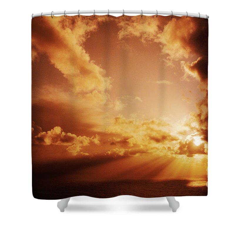 Air Art Shower Curtain featuring the photograph Colorful Cloudburst by Larry Dale Gordon - Printscapes