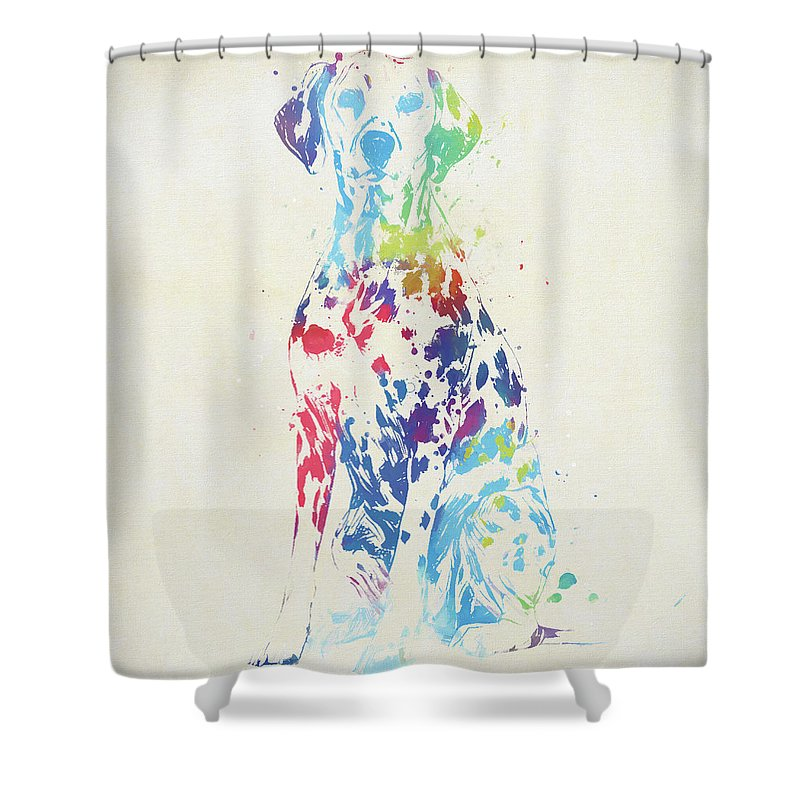 Colorful Dalmatian Shower Curtain Featuring The Painting By Dan Sproul