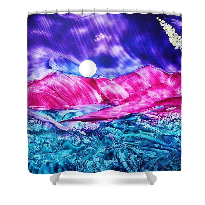 Bold Shower Curtain featuring the print Colorful Desert by Melinda Etzold